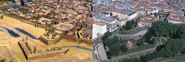 Vues comparées du quartier du Château Vieux de Bayonne aujourd'hui, avec la même vue sur le plan-relief. © Paris, Musée des Plans-reliefs et Ville de Bayonne