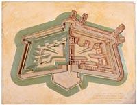Modèle de fort polygonal (allemand) à fossés secs (type de Strasbourg, vers 1875)