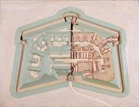 Modèle de fort polygonal français (type Sennecey, près de Dijon, vers 1875)