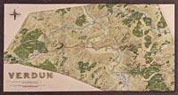 Position de Verdun, avec ligne française le 21 février 1916 et l'avancée extrême allemande en juillet 1916